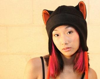 Cat Ears - Cat Ear Hat - Cat Hat - Anime Hat - Cat Aviator Hat - Fleece Hat - Cat Fleece Hat - Rave Hat - Goth Hat - Punk Hat - Anime Hat