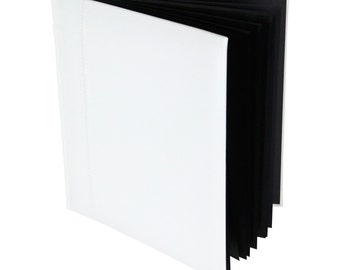 Photo Booth Album/Drymount/Book Mount 50pg - White Leather featuring Glassine Interleave pages