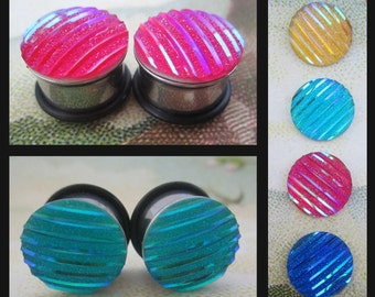 "Holographic 80's Striped EAR TUNNEL PLUG Earrings pick gauge and color - 2g, 0g, 00g, 1/2"", 9/16"" aka 6mm, 8mm, 10mm, 12mm, 14mm"