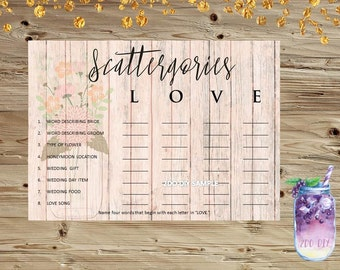 Scattergories Bridal Shower Game / Mason Jar Flowers / Shabby Chic / Printable Game / Instant Download