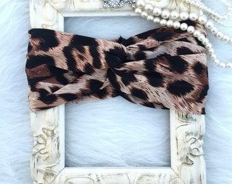 Brown/Tan Leopard Animal Print Turban Style Headband. Baby turban headbands. Turbans, Headwraps, Headbands