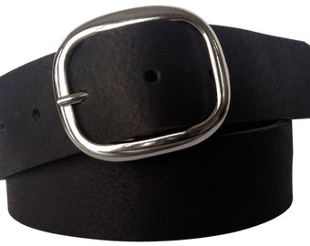 Black Pebble Leather Snap Belt - Full Grain Leather