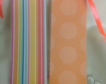 Stripes Bookmark , Neon Ribbon , Laminated , Books , Page keeper , Reading , Waterproof , pole dots