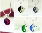 Yin Yang Silver Cloisonne Enamel Handmade Pendant, Silver Necklace. Amulet, Esoteric. Violet, Blue, Red, White, Green, Black
