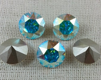 Swarovski 6 PC 1088 Xirius Chaton/ Aurore Boreale (AB)  (Foiled) SS55 / For Jewelry Setting/ Bezeling/ And Embellishing/