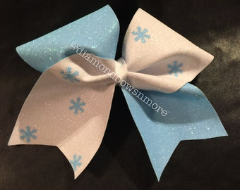 Blue and White Snowflake Bow