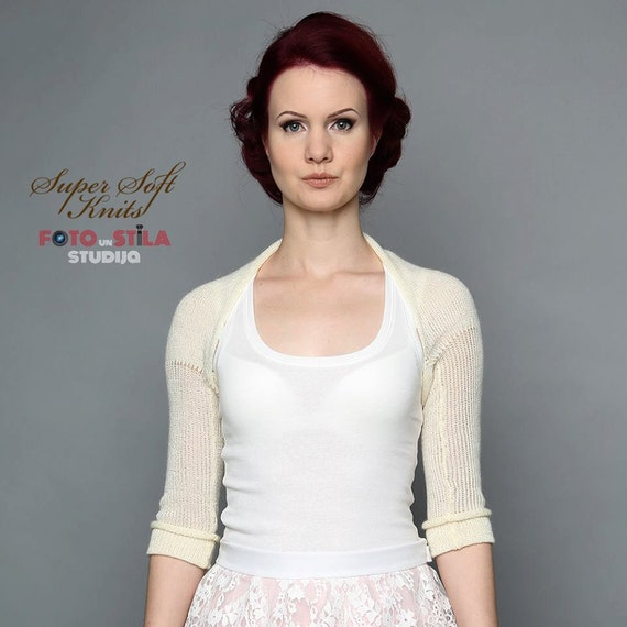 Ivory Bridal Bolero knitted Wedding Bolero shrug Alpaca silk
