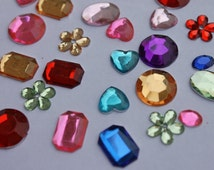 Assorted gems, 100 glue on flatbacks, cabashons, rhinestones size 10-15 mm, heart oval flower star square round small medium colorful