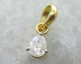 Solitaire Diamond Pendant, 0.65Carats Pear Shape Solitaire Diamond Pendant in 14k Solid Yellow Gold