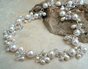 White Pearl Cluster Necklace.Crystals.Wedding.Statement.Bridal.Bridesmaid.Choker.Valentine.Mother's.Birthday.Holiday.Formal.Gift. Handmade.