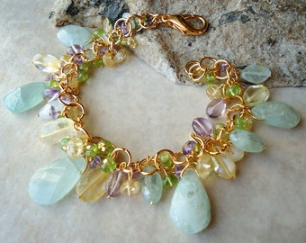 Aquamarine Cluster Bracelet.24K Gold plate.Multi Gemstone.Statement.Citrine.Bridal.Amethyst.Peridot.Mother's.Blue.Birthday.Pastel.Handmade.