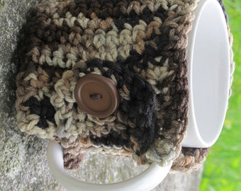 Multiple Browns Crochet Mug Cozy With Button Ready to Ship