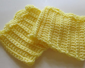 Crochet Boot Cuffs With Scallops in Yellow Ready to Ship