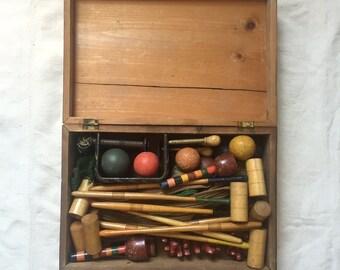 Antique Tabletop Croquet Set