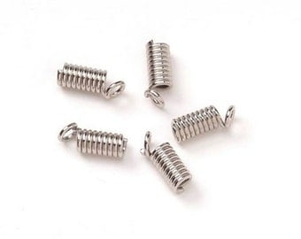 Darice Jewelry Designer 4x 8mm Crimp Coil Necklace Ends Springs Caps - Silver Tone FN459