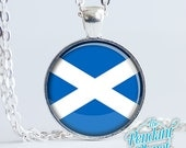 Scottish flag jewelry, St Andrews Cross pendant, flag of Scotland, Saltire, gift for Scots, gifts of home, gift for herself