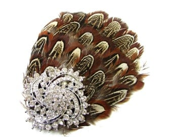 Brown Silver Pheasant Feather Rhinestone Fascinator Hair Clip Headpiece Vtg 78