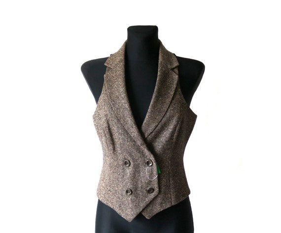 United Colors of Benetton Women's Tweed Black Beige Herringbone Vest Wool Small Size Waistcoat