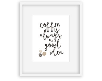 Coffee Is Always A Good Idea - Kitchen Art, mothers day from son, typography, teacher gift, kitchen decor, office decor, framed art