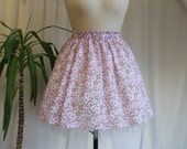 1950s Inspired Circle Skirt, Pink and White Floral Pin up Rockabilly Skirt, Handmade,  27 inch waist UK size 8-10 / US 4-6 / EU 36-38