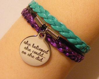 She believed she could so she did bracelet, she believed she could so she did jewelry, fashion bracelet, fashion jewelry, inspirational