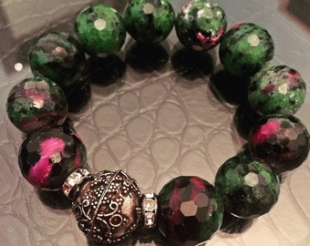 Faceted Ruby Zoisite 15mm Beaded Bracelet with Silver Bali Focal Bead