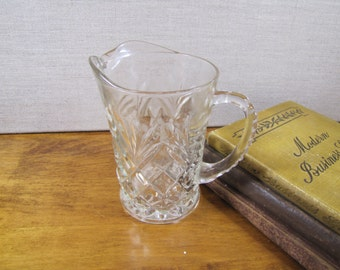 Pressed Glass Creamer - Small Pitcher - Diamond Pattern - Large Loop Handle