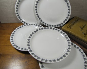 Shenango China - Restaurant Ware - Bread and Butter Plates - Creamy White - Black Trees - Se of Five (5)