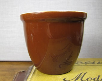 Brown and White Crock Custard Cup