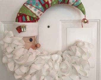 Santa crescent shape wreath // fabric Santa wreath // Christmas wreath