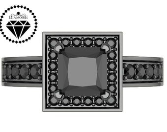 2.00CTW Black Diamond Engagement Ring in Black Gold or Black Silver