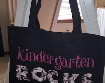 Teacher Gift Bag, Kindergarten Rocks, Book Bag, 1st Grade Rocks, 2nd, 3rd, 4th, etc