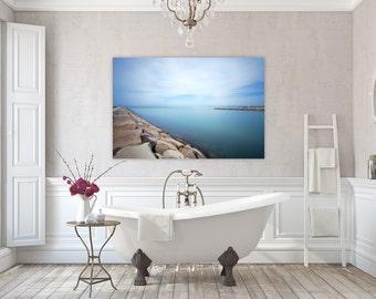 Vineyard Calm ~ Edgartown, Martha's Vineyard, Canvas, Wall Art, Nautical Photography, Home Decor, Beach, Artwork, Seawall, Ocean, Joules