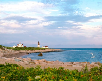 Point Judith Lighthouse  ~ Panoramic, Narragansett, Rhode Island, Nautical, Coastal Home Decor, Beach Photography, Ocean, Joules, Wall Art