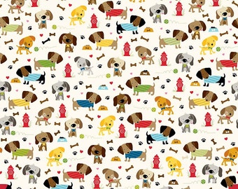 Dog Fabric, Dachshund Fabric, Childrens Fabric, Rover Dog Park by Riley Blake, Cream, Cotton, 1 Yard