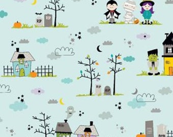 Halloween Fabric, Riley Halloween Magic by Riley Blake,  Main in Blue, Cotton Fabric,  1 Yard