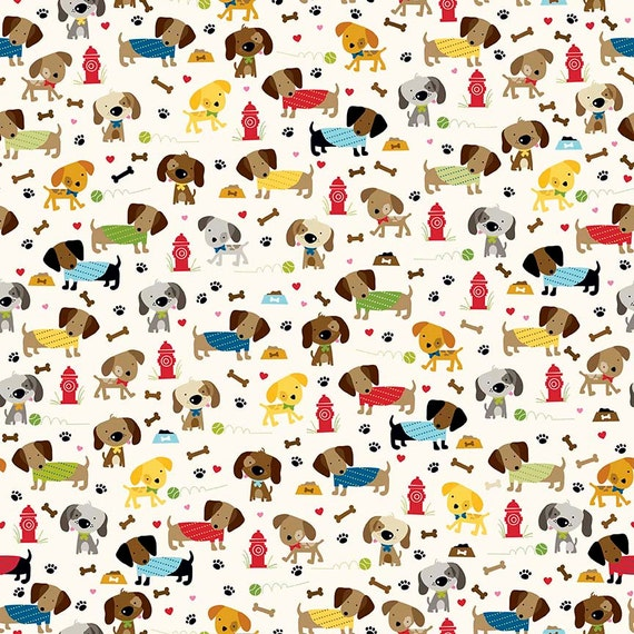 Dog fabric dachshund fabric childrens fabric rover dog park for Childrens fabric