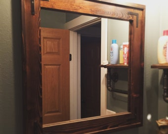 Rustic Wood Framed Mirror