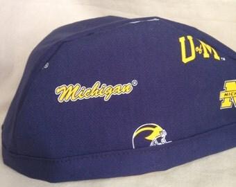 "Michigan ""Wolverines"" Doo Rag, Skull Cap, Chemo Cap, Biking cap, Welding cap"