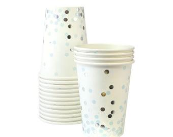 Blue + Silver Confetti Party Cups