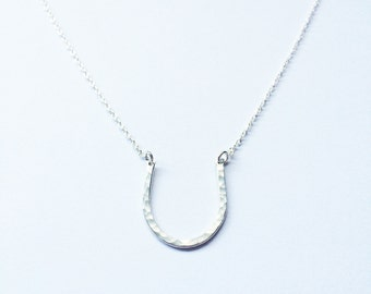 Magnolia Necklace // Sterling Silver // Sterling Silver Necklace, Horseshoe Necklace, Hand Hammered