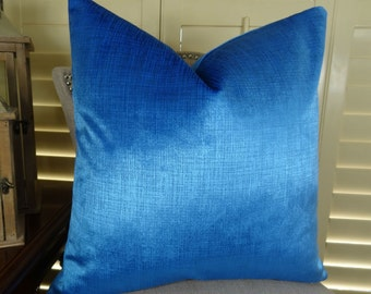 Metallic Blue Double Sided Throw Pillow Cover - Designer Decorative Blue Throw Pillow - Metallic Blue Pillow - Modern Blue Pillow - 11389