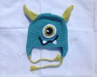 Crochet Blue and green monster hat