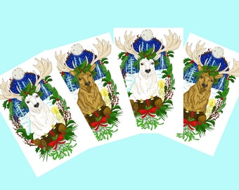 Yule stag Christmas card pack of 4 ( A6 in size) Yule card pack, Wicca card pack