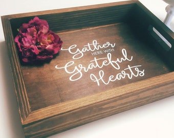 Gather Here With Grateful Hearts | Fall Decor | Gather Sign | Ottoman Tray | Fall Centerpiece | Wooden Tray | Farmhouse Decor | Rustic Tray