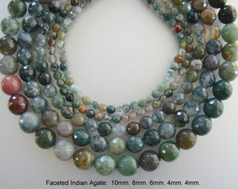 SALE. Natural Indian Agate Faceted Round Beads Strands, 10mm, 8mm, 6mm, 4mm,  Hole: 1mm.