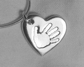 FOOTPRINT & HANDPRINT JEWELLERY Personalized Silver Footprint Handprint Necklace Chain Pendant Charm
