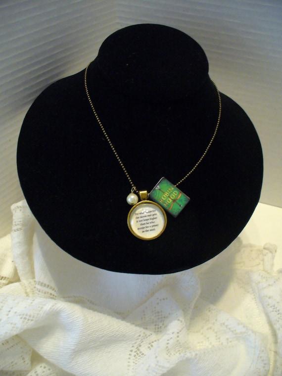 Book Nook Necklace, Robin Hood Necklace, Literature Necklace, Quote Necklace, Moon Quote, Antique Gold Pendant Necklace, MarjorieMae