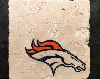 Denver Broncos Coasters ~  Set of 4 Stone Coasters ~Coasters ~ Natural Stone Tile Coasters ~ Football Coasters