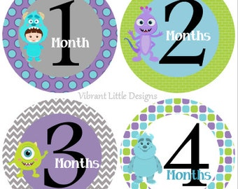 Monthly Baby Stickers Boy, Milestone Stickers, Month to Month Stickers Boy, Girl, Neutral, Monsters Inc BABY  #154